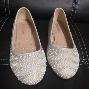 BellaMarie metallic silver ballet slip on flats